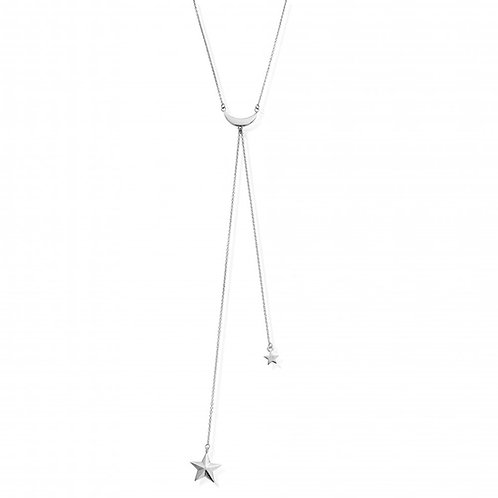 ChloBo Sterling Silver Moon and Star Lariat Necklace - SN740