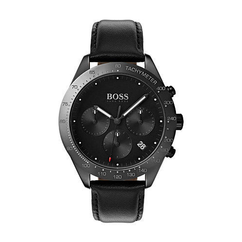 Hugo Boss Talent Black Leather Strap Mens Watch - 1513590
