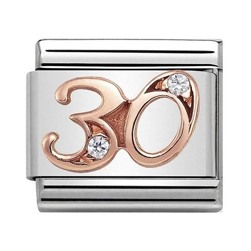 Nomination Rose Gold 30 Charm Link with Cubic Zirconias   - 430315/30