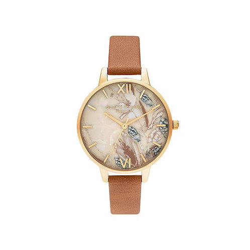 Olivia Burton Abstract Florals Tan and Gold Watch - OB16VM39