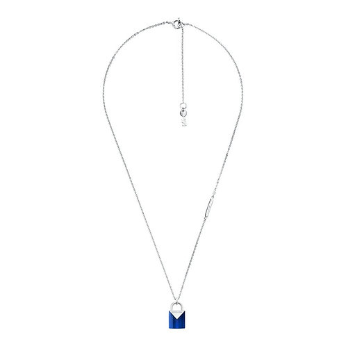 Michael Kors Sterling Silver with Blue Quartz Padlock Pendant Charm Necklace