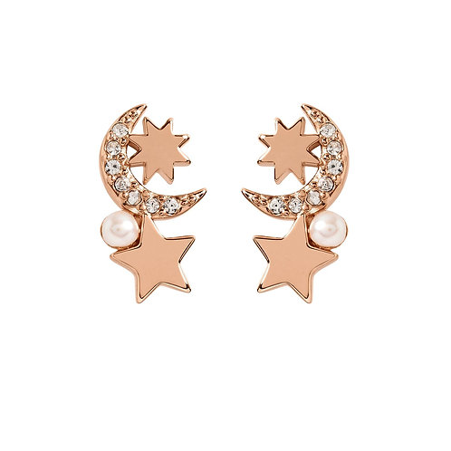 RADLEY Sterling Silver Rose Gold Plated Celestial StarEarrings