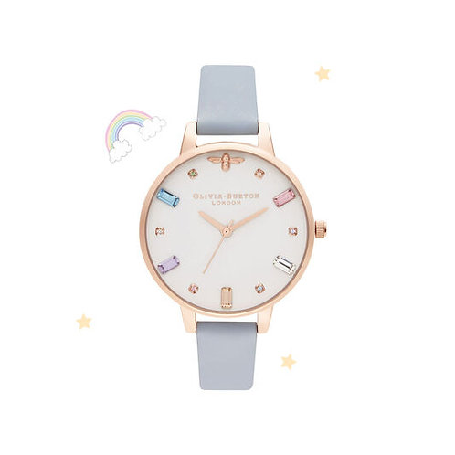 Olivia Burton Rainbow Bee Demi Chalk Blue and Rose Gold Watch - OB16RB12