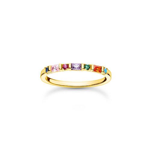 Thomas Sabo Yellow Gold tone Colourful Stones Ring - TR2348-488-7