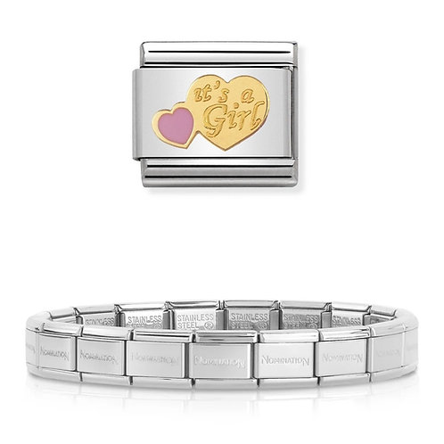 Nomination 18 Link Bracelet with a It's a Girl Charm Link  - 003001-4