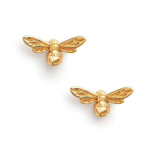 Olivia Burton Lucky Bee Gold Tone Silver Stud Earrings OBJAME23N