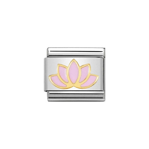 Nomination Gold Classic Pink Lotus Flower Charm Link - 030278/17