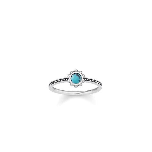 Thomas Sabo Silver Turquoise Ethno Ring - TR2151-878-17-54