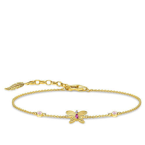 Thomas Sabo Sterling Silver Gold Plated Butterfly Bracelet - A1937-488-7