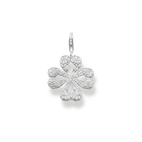 Thomas Sabo Silver Winged Heart Clover Pendant Charm - T0322-001-12