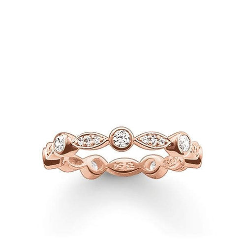 Thomas Sabo Silver Rose Gold Marquise Shape Ring - TR1985-416-14-52