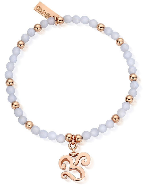 ChloBo Chunky OM Bracelet - Silver Rose Gold and Blue Lace Agate - SBBLARGB470