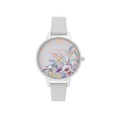 Olivia Burton Enchanted Garden Vegan Grey and Rose Gold Watch - OB16EG153