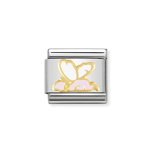 Nomination Gold and Pink Enamel Baby Fairy Charm Link - 030272/06