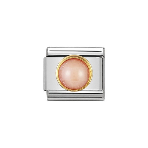 Nomination Gold Pink Coral Round Charm Link - 030503/10