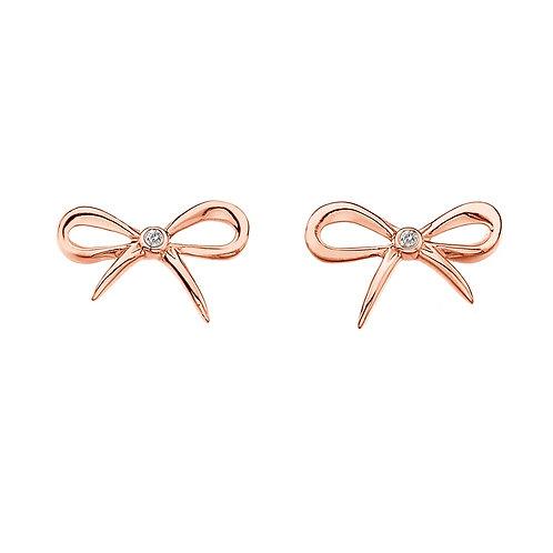 Hot Diamonds Sterling Silver Rose Gold Bow Earrings