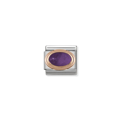 Nomination Rose Gold Oval Stone Charm Link - 430501