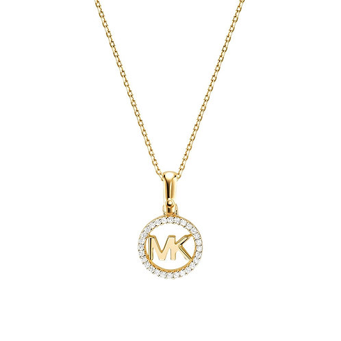 Michael Kors Yellow Gold Logo Charm Necklace