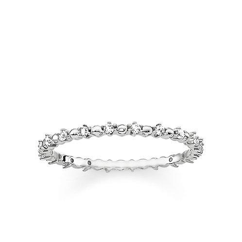 Thomas Sabo Silver Thin CZ Eternity Dots Ring - TR2153-051-14