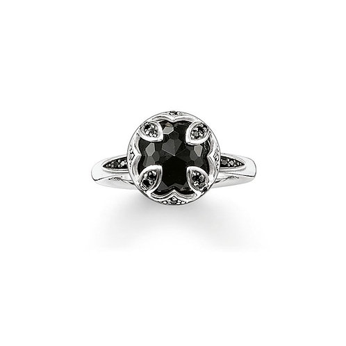 Thomas Sabo Silver and Black Onyx Purity of Lotus Ring - TR1988-641-11-54
