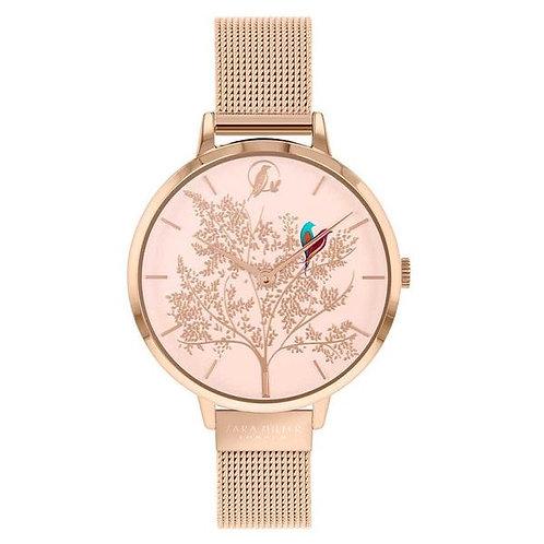 SARA MILLER - Lovebirds Rose Gold Mesh Strap Watch - SA4012
