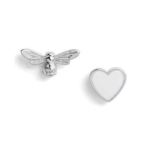 Olivia Burton You have My Heart White and Silver Stud Earrings OBJLHE46