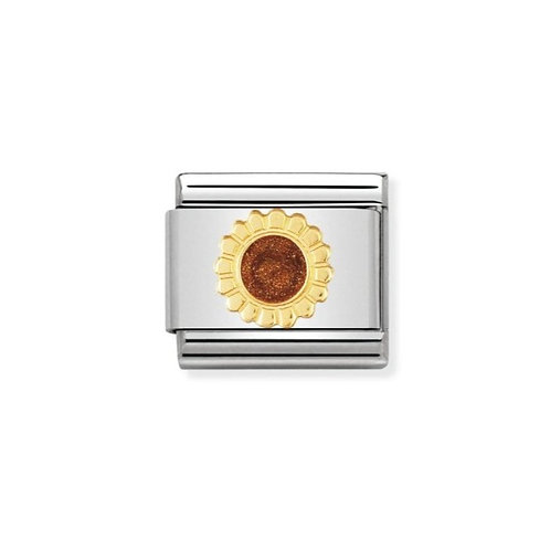 Nomination Gold and Brown Enamel Sunflower Flower Charm Link - 030214/24