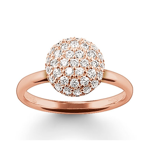 Thomas Sabo Silver Rose Gold with Pave Set Dome Ring - TR1972-416-14-54