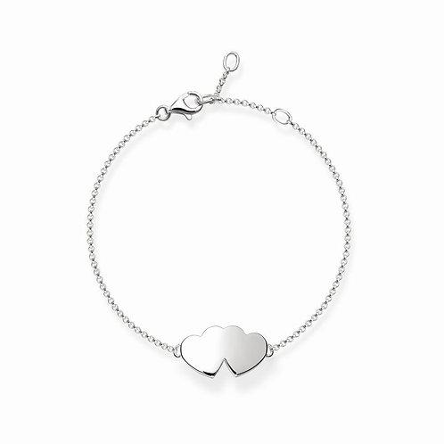Thomas Sabo Two Hearts Sterling Silver Bracelet - A1393-001-12-L19v