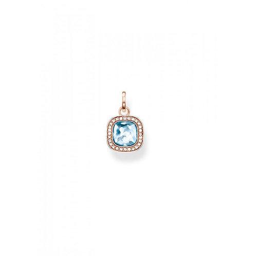 Thomas Sabo Silver Rose Gold Plated Light Blue Square Pendant - PE687-635-1