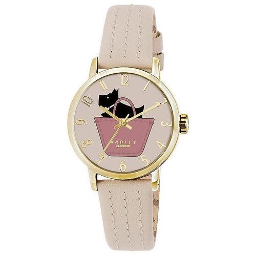 RADLEY Ladies Basket Dog Cream Leather Strap Watch - RY2288