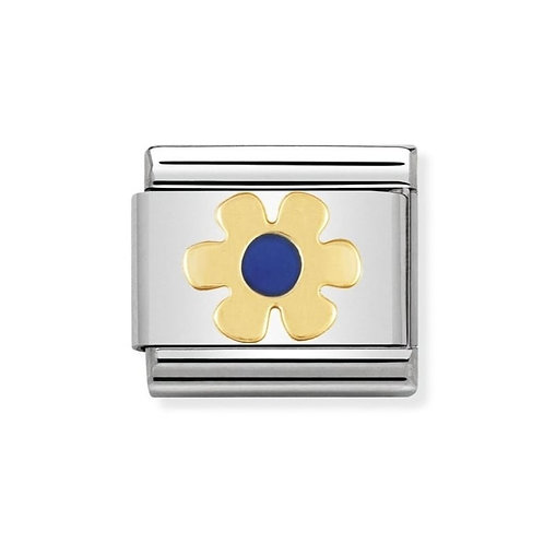 Nomination Gold and Blue Flower Charm Link - 030214/21