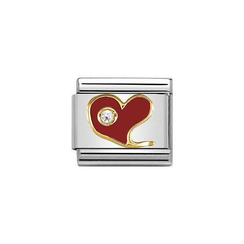 Nomination Gold and Red Enamel Heart Charm Link - 030321/21