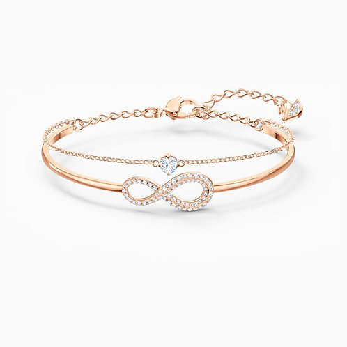 SWAROVSKI Infinity Bangle in Rose Gold Tone and Clear Crystal  - 5518871