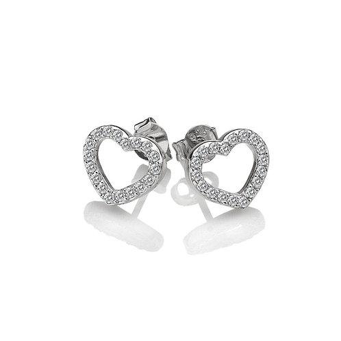 Hot Diamonds Sterling Silver Striking Open Heart Earrings - DE535