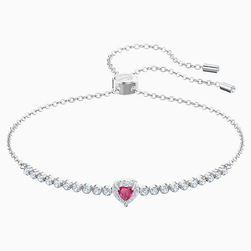 SWAROVSKI One Red Heart Bracelet in Rhodium with Red & Clear Crystal  - 5456813