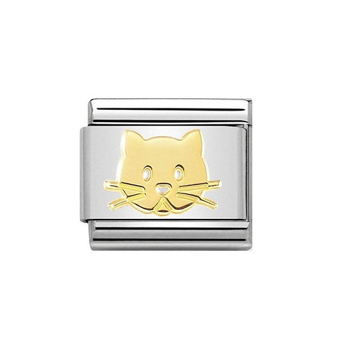 Nomination Gold Cat Face Charm Link - 030162/53