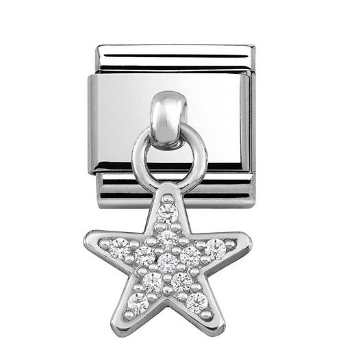 Nomination Silvershine Star with CZ Dangle Charm Link - 331800/05