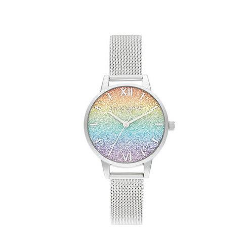 Olivia Burton Rainbow Glitter Midi Dial Mesh Strap Watch - OB16GD69
