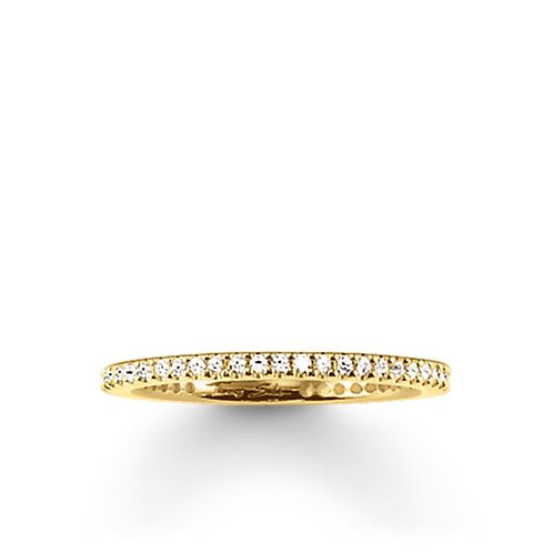 Thomas Sabo Silver Thin CZ Eternity Yellow Gold Ring - TR1980-414-14