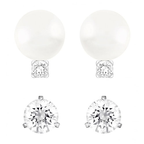 SWAROVSKI Rhodium All Day Crystal Pearl & Clear Crystal Stud Earrings - 5184311
