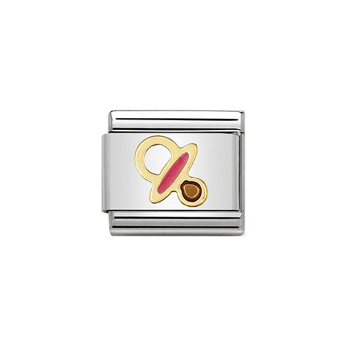 Nomination Gold Classic Pink Baby Dummy Charm Link - 030208/41