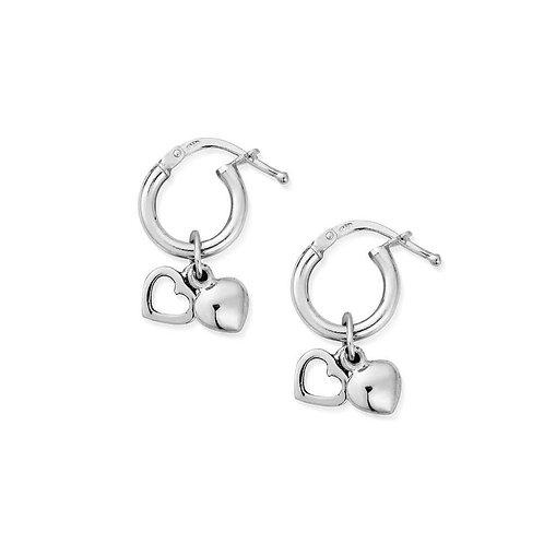 ChloBo Sterling Silver Double Heart Small Hoop Dangle Earrings - SEH040