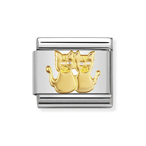 Nomination Gold Classic Twin Cats Charm Link - 030112/13