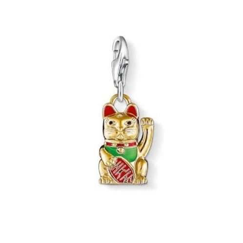 Thomas Sabo Silver and Gold Fortune Cat Charm - 1006-427-7