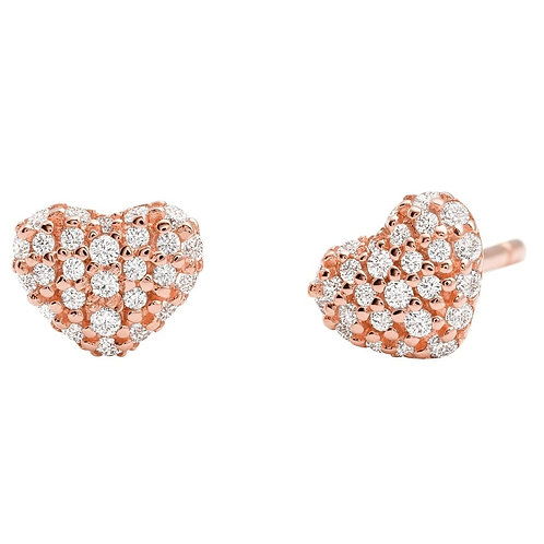 Michael Kors Rose Gold Pave Heart Earrings - MKC1119AN781