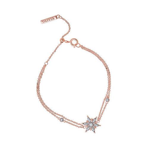 Olivia Burton Snowflake Rose Gold Tone Silver Chain Bracelet - OBJIQB07