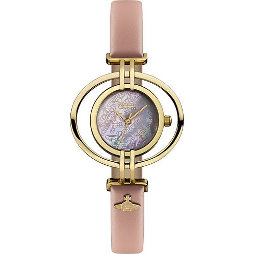 Vivienne Westwood Gold Oval Baby Pink Leather Strap Watch - VV133PKPK