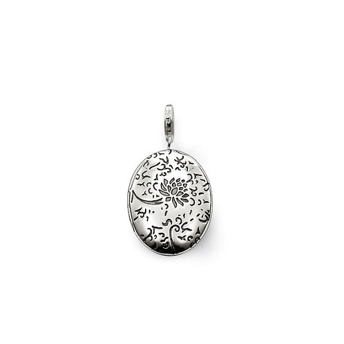 Thomas Sabo Silver Flower Engraved Locket Pendant - T0301-001-12