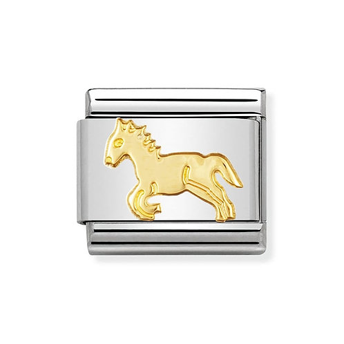 Nomination Gold Galloping Horse Charm Link - 030112/09